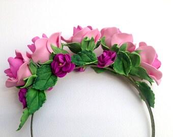 Pink wreath for girls tiara flower crown flower Rose Flower Heads Rose wreath Rose flowers bridal accessories wedding girls wreath wedding