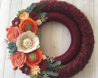 Felt flower wreath, felt flowers , felt wreath, wreath, yarn wrapped wreath , yarn wreath, double wreath