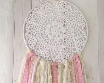 Doily dreamcatcher , pink dreamcatcher , nursery dreamcatcher , boho baby decor , crochet dreamcatcher , dreamcatcher