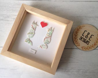 Fox Frame, Wedding Anniversary Gift, Romance, Love, Love frame, Fox Frame handmade from Recycled Map Paper, First Wedding Anniversary Gift
