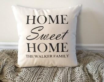 Custom Monogram Pillow, Wedding gift, Family Name Pillow, Custom Pillow, Family pillow, Housewarming Gift, Personalized Gift Home Sweet Home