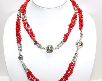 Two Strand Red Coral Necklace