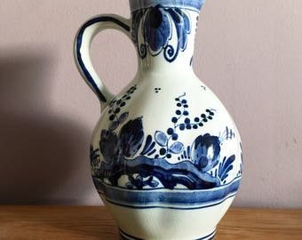Vintage Royal Delft. Blue Jug. Made in Holland. Hand painted.