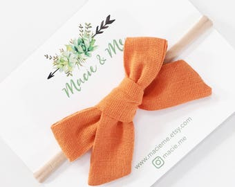 Pumpkin Linen Tied Bow / Girls Hair Bows / Alligator Clip / No Slip Grip / Macie and Me / Hand Tied
