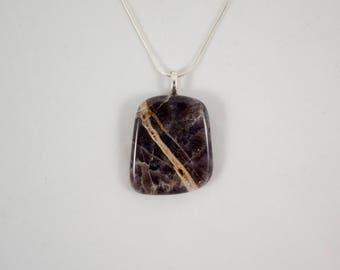 Handmade Amethyst Natural Stone Necklace with Tiny Quartz Crystal Seam