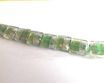 Green square Murano glass beads 2