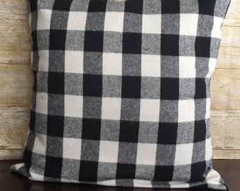 Plaid Flannel Pillow Cover, Buffalo Plaid Pillow, Envelope Style Pillow Cover, Black and White Pillow Cover, Plaid, Flannel, Throw Pillow