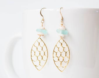 Mermaid Scale Pendant, Blue Sea Glass and Puka Shell Dangle Earring, Gold fill and Vermeil and Sterling Silver, Fish Scale, Ariel Earring