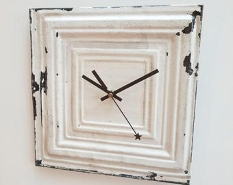 "11 1/2"" X 11 1/2"" Salvaged  ceiling tin tile  unique medium wall clock"