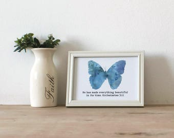 He Has Made Everything Beautiful In Its Time Scripture Wall Art / Blue Butterfly / Christian Wall Printable / Instant Download