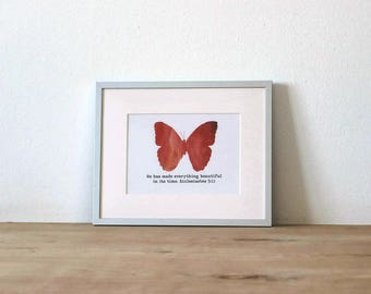 He Has Made Everything Beautiful In Its Time Scripture Wall Art / Red Butterfly / Christian Wall Printable / Instant Download