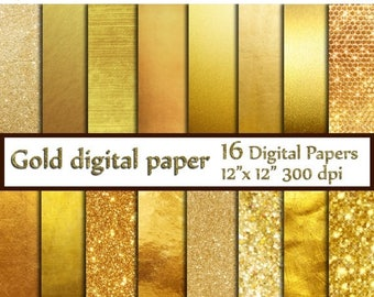 "40%SALE Gold Foil Digital Paper: ""GOLD DIGITAL Paper"" Metallic Gold Digital Paper Gold Paper Gold Backgrounds Digital Gold Foil Paper"