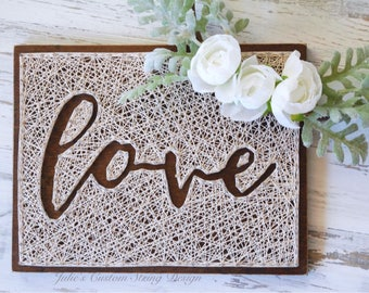 MADE TO ORDER, Negative Space, Love, Hope, String Art, wood Sign, olw, one little word, customized, gift