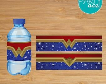 Wonder Woman Printable Water Bottle Labels Wonder Woman Birthday Party Superhero Birthday Party Decoration Marvel