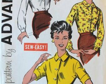 Vintage Sewing Pattern - Uncut 1950s Blouse Pattern - Advance 9157