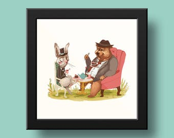 "Tea Party 6 x 6"" Art Print"