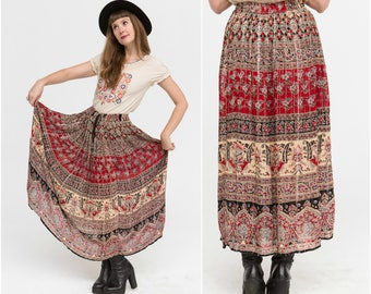 Indian Maxi Skirt / Gypsy Crinkle Full Skirt / Adjustable Size