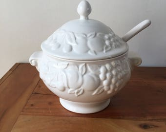 White Ceramic Fruit Detailed Punch Bowl