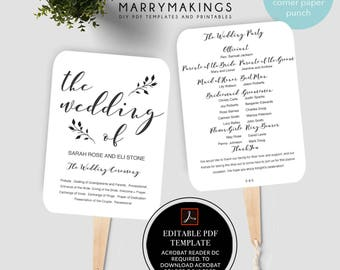Wedding Program Template, Printable Program, Wedding Fan, Instant Download, DIY Wedding Program, Fan Program, Program Template, Rustic, 33
