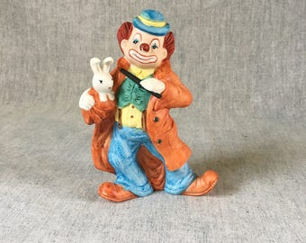 Vintage Enesco Magician Clown Figurine with Rabbit