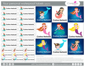 Mermaid- Your personal waterproof labels (68 Qty) Free Shipping