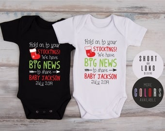 PREGNANCY ANNOUNCEMENT to FAMILY, Christmas Pregnancy Reveal To Grandparents, Personalized One Piece in White, Gray, Graphite Gray or Black