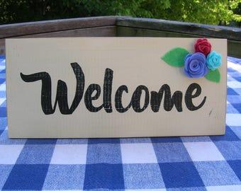 Welcome Wood Sign - Cream, Black, Felt Flowers - Door Hanging, Wall Decoration