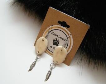 Deer antler slice earrings, bone earrings, rustic earrings, native american earrings,