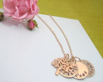 Personalised With 1, 2 or 3 Names Rose Gold Plated Family Tree Necklace