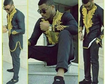 Ankara Men's Outfit, African Mens Outfit, Black and Yellow Long Sleeve Top and Bottom Attire For Men