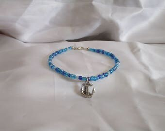 Blue Mosaic Anchor Anklet
