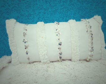 Moroccan lumbar pillow, wedding blanket pillow, handira pillow,  vintage Berber textile