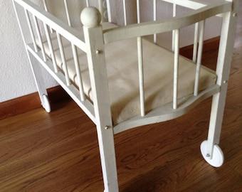 Antique Baby Crib, Vintage Baby Buggy, Doll Crib, Wheel Crib