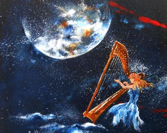 "Painting ""Harp by moonlight ..."""