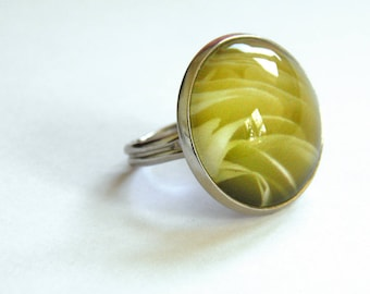 Pink yellow flower ring. Unique ring.
