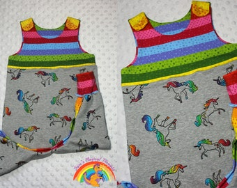 Rainbow unicorn Dungarees, winter outfit, outfit, warm dungaree romper, fleece backed jersey, baby romper 12-18 months