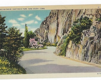 Linen Postcard, East Rock Park, New Haven Conn., Scenic Postcard, Ephemera