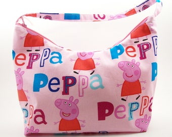 "Peppa pig Girl's shoulder bag,Handbag,Purse.11"" across top,7"" from center of purse down,side width tapers to 4 1/2 """