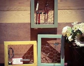 8 x 10, Chicken Wire Frame, Jewelry Organizer, Jewelry Frame, Jewelry Holder, Jewelry Holder, Earring Holder, Organizer, Jewelry Frame