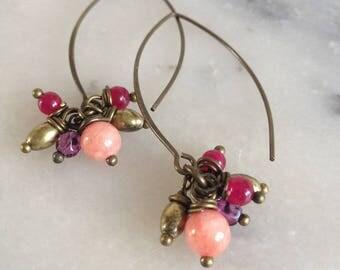 Gemstones and bronze earrings