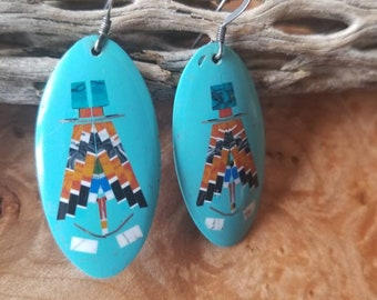 Unusual Inlaid Native American Earrings