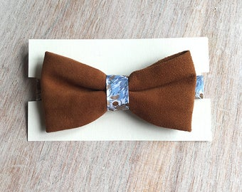 Vintage Brown - leather bowtie