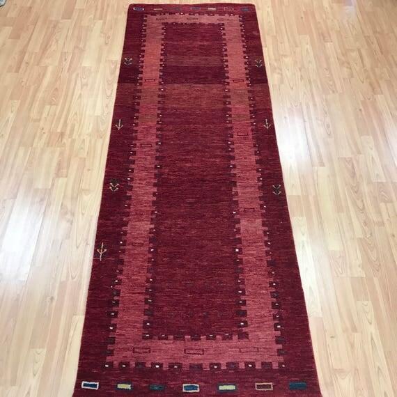 """2'6"""" x 7'3"""" Persian Gabbeh Floor Runner Oriental Rug - Vegetable Dye - Hand Made - 100% Wool"""