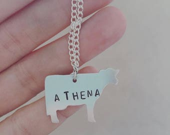 Custom Lettered Beautiful Cow Necklace