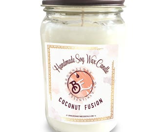 Coconut Fusion Scented Soy Candle // Pina Colada // Coconut Scent // Soy Candles // Scented Candles 16oz