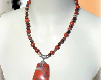 Red Jasper (gemstone), 925 sterling silver necklace.