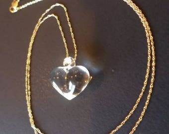 """14K Gold Stamped, Signed, 19"""" Chain w/ Clear Poured Glass Heart Pendant."""