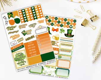 St. Patrick's Day Weekly Vertical Planner Stickers Kit 842L