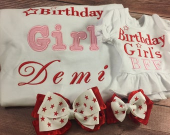 Matching Girl Doll;Girl And Doll;AG Birthday Shirts;Star Birthday;Dollie And Me;Made To Match;Red And Pink;18 Inch Doll Shirt