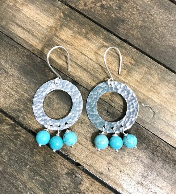 Hand hammered aluminum circles with wire wrapped turquoise bead fringe
